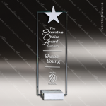 Crystal  Starphire Star Tower Trophy Award Silver & Chorme Accented Crystal Awards
