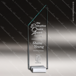 Crystal  Starphire Peak Trophy Award Silver & Chorme Accented Crystal Awards