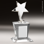 Crystal  Silver Star Trophy Award Silver & Chorme Accented Crystal Awards
