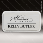 Laser Etched Engraved Silver Name Badge Silver Frame Magnet Backed Silver Name Badges