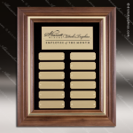 The McEllan Walnut Framed Perpetual Plaque  12 Gold Plates Small Perpetual Plaques - 4-20 Plates