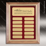 The McAllen Walnut Framed Perpetual Plaque  12 Gold Plates Small Perpetual Plaques - 4-20 Plates