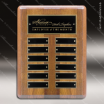 The Mizzell Walnut Perpetual Plaque Round Corner  12 Black Plates Small Perpetual Plaques - 4-20 Plates
