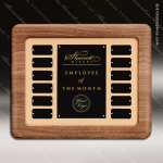 The Trombley Walnut Framed Perpetual Plaque  12 Black Plates Small Perpetual Plaques - 4-20 Plates