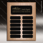 The Joffrion Laminated Oak Perpetual Plaque  12 Black Plates Small Perpetual Plaques - 4-20 Plates