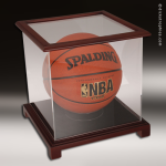 Display Case Acrylic Wood Cherry Finish for Basketball or Soccer Ball Soccer Display Case
