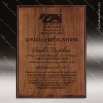 Engraved Walnut Finish Plaque Laser Burned Etched - Style 5 Soccer Plaques