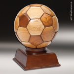 Wood Maple Accented Soccer Ball Trophy Award Soccer Trophies