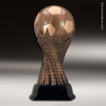 Premium Resin Bronze Sports Theme Soccer Ball on Net Trophy Award Soccer Trophies