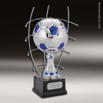 Champion Metal Large Silver & Blue Soccer Ball Trophy Award Soccer Trophies