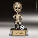 Resin Tyke Bobble Head Series Soccer Male Trophy Award Soccer Trophies
