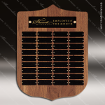 The Trezza Walnut Arch Perpetual Plaque  36 Black Plates Sponsor - Memorial - Donor Plaques