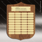 The Trezza Walnut Arch Perpetual Plaque  36 Gold Plates Sponsor - Memorial - Donor Plaques