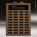 The Trevillion Walnut Arched Perpetual Plaque  36 Black Plates Sponsor - Memorial - Donor Plaques