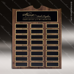 The Trevillion Walnut Arched Perpetual Plaque  24 Black Plates Sponsor - Memorial - Donor Plaques