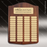 The Melrosa Walnut Perpetual Arch Plaque  48 Gold Plates Sponsor - Memorial - Donor Plaques