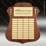 The Melrosa Walnut Perpetual Arch Plaque  40 Gold Plates Sponsor - Memorial - Donor Plaques