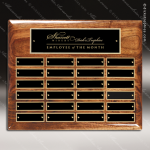 The Memmott Walnut Piano Finish Perpetual Plaque  24 Black Plates Sponsor - Memorial - Donor Plaques