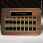 The Tofollla Walnut Perpetual Plaque  96 Black Plates Sponsor - Memorial - Donor Plaques