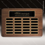 The Tofollla Walnut Perpetual Plaque  24 Black Plates Sponsor - Memorial - Donor Plaques