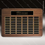 The Tofollla Walnut Perpetual Plaque  60 Black Plates Sponsor - Memorial - Donor Plaques
