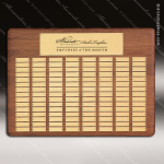 The Tofallla Walnut Perpetual Plaque  72 Gold Plates Sponsor - Memorial - Donor Plaques