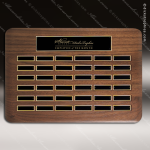 The Tofollla Walnut Perpetual Plaque  36 Black Plates Sponsor - Memorial - Donor Plaques
