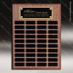 The Morvillo Laminate Walnut Perpetual Plaque  40 Black Plates Sponsor - Memorial - Donor Plaques