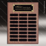 The Morvillo Laminate Walnut Perpetual Plaque  24 Black Plates Sponsor - Memorial - Donor Plaques