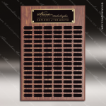 The Morvillo Laminate Walnut Perpetual Plaque 102 Black Plates Sponsor - Memorial - Donor Plaques