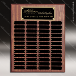 The Morvillo Laminate Walnut Perpetual Plaque  48 Black Plates Sponsor - Memorial - Donor Plaques