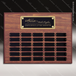 The Morvillo Laminate Walnut Perpetual Plaque  30 Black Plates Sponsor - Memorial - Donor Plaques