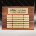 The Mercardo Walnut Perpetual Plaque  24 Gold Plates Sponsor - Memorial - Donor Plaques