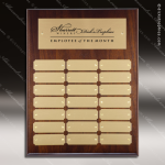 The Mercardo Walnut Perpetual Plaque  21 Gold Plates Sponsor - Memorial - Donor Plaques