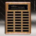 The Mizzell Walnut Perpetual Plaque Round Corner  24 Black Plates Sponsor - Memorial - Donor Plaques