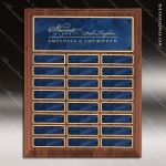 The Trusillo Walnut Perpetual Plaque  24 Blue Marble Plates Sponsor - Memorial - Donor Plaques