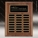The Trudale Walnut Perpetual Plaque  24 Black Plates Sponsor - Memorial - Donor Plaques