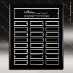 The Mabery Black Piano Finish Perpetual Plaque  24 Black Silver Plates Sponsor - Memorial - Donor Plaques