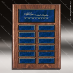 The Jordon Walnut Veneer Perpetual Plaque  12 Blue Magnet Plates Sponsor - Memorial - Donor Plaques