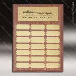 The Morvilla Laminate Walnut Perpetual Plaque  21 Gold Plates Sponsor - Memorial - Donor Plaques