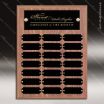 The Morvay Laminate Walnut Perpetual Plaque  21 Black Plates Sponsor - Memorial - Donor Plaques