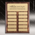 The Morvilla Laminate Walnut Perpetual Plaque  12 Gold Plates Sponsor - Memorial - Donor Plaques