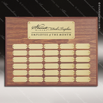 The Morvilla Laminate Walnut Perpetual Plaque  30 Gold Plates Sponsor - Memorial - Donor Plaques