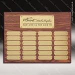 The Morvilla Laminate Walnut Perpetual Plaque  24 Gold Plates Sponsor - Memorial - Donor Plaques