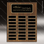 The Mozelek Laminate Walnut Perpetual Plaque  24 Black Plates Sponsor - Memorial - Donor Plaques