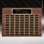 The Mozelak Laminate Walnut Perpetual Plaque  84 Black Plates Sponsor - Memorial - Donor Plaques