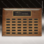 The Rabelo Walnut Perpetual Plaque  36 Black Plates Sponsor - Memorial - Donor Plaques