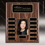 The Mozelak Laminate Walnut Perpetual Plaque  13 Black Plates Photo Sponsor - Memorial - Donor Plaques