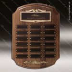The Racano Walnut Perpetual Arch Plaque  18 Black Plate Sponsor - Memorial - Donor Plaques
