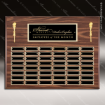The Mozelak Laminate Walnut Perpetual Plaque  48 Black Plates Sponsor - Memorial - Donor Plaques